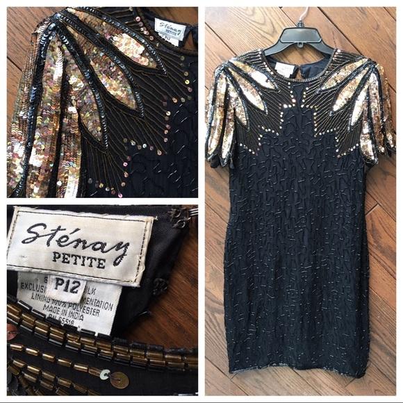Stenay Dresses & Skirts - Vintage Stenay Petite black silk beaded dress P12